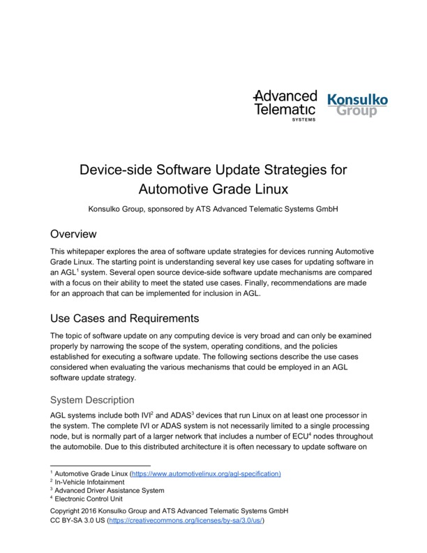 Device-side Software Update Strategies for Automotive Grade Linux